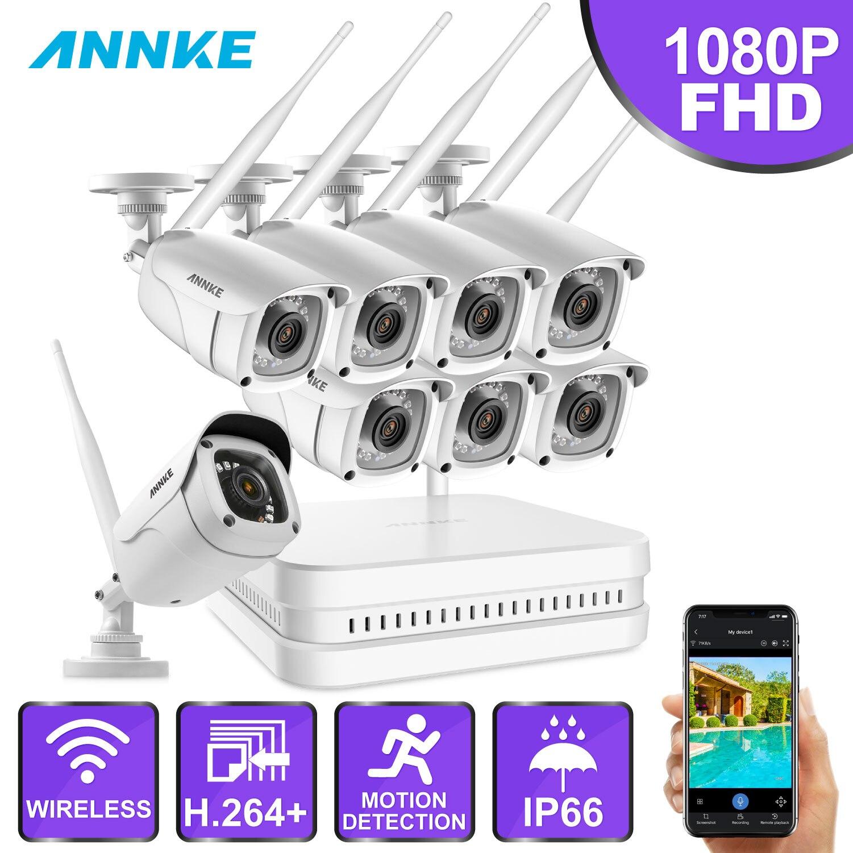 ANNKE 8CH 1080P FHD WiFi NVR Video Überwachung System Mit 2MP Kugel Wetterfeste IP Kameras 100ft Nachtsicht Mit smart IR