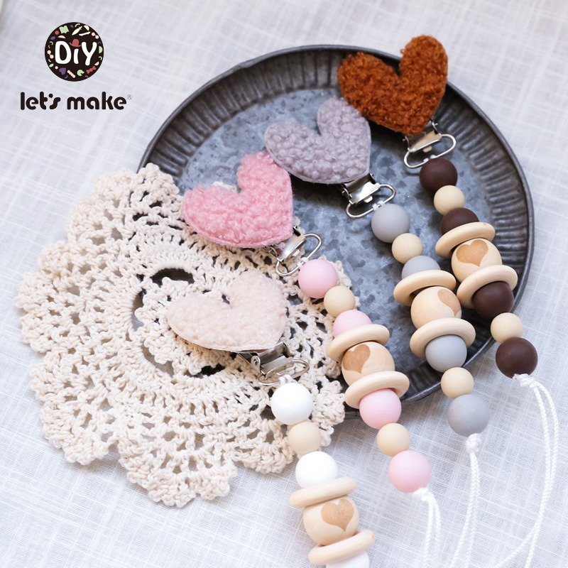 Let's Make 1PC Baby Pacifier Chain Lambswool Heart Star Nipple Holder Wood Beads Personalized Baby Teething Gift Pacifier Chain