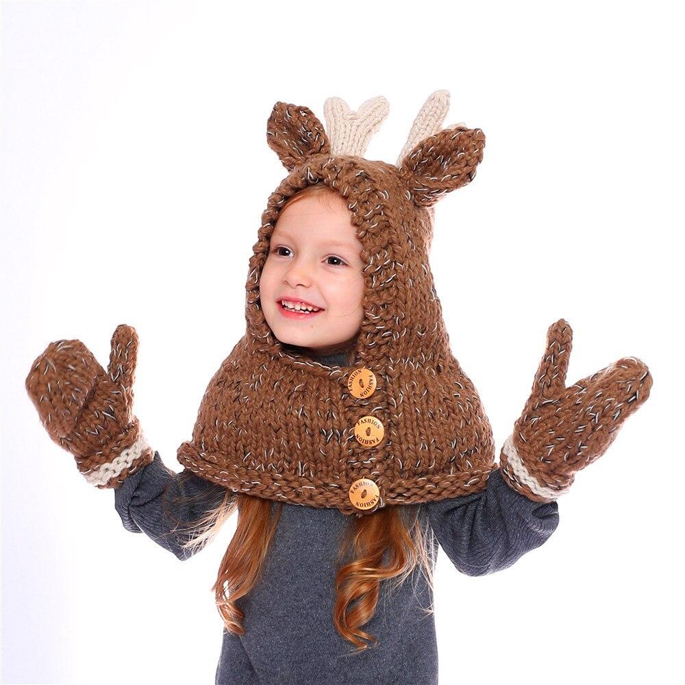 Детская шапка с рогами оленя шапка Олененок с перчатками шаль на осень зиму шапка для мальчиков и девочек вязаная шапочка сохраняющая тепло Комплект детских шапок