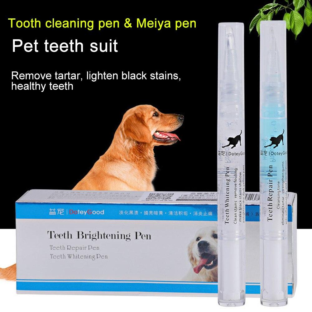 2PCS Tool Dental Calculus Pet Teeth Cleaning Pen Kit Dog Cat Mouth Fresh Oral Care Toothbrush Safe Tartar Remove Brightening