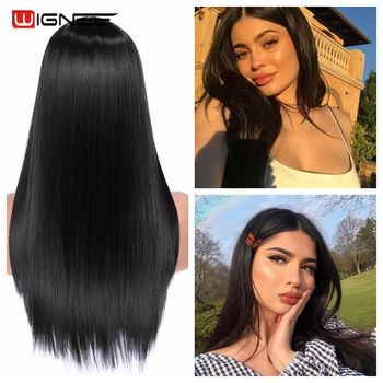 Wignee Long Black Straight Hair Synthetic Wig For Women Temperature Heat Resistant Natural Daily/Party/Cosplay Hair Female Wigs wignee short straight hair synthetic wigs with bangs for women high temperature heat resistant glueless cosplay hair africa wigs