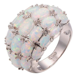 NPKDS Luxurious White Opal Ring Fashion Wedding Engagement Ring Inlaid with Four Rows of Oval Opal Elegant Rings Party Gifts(China)