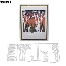 Tree Deer Metal Cutting Dies Stencil DIY Scrapbooking Album Stamp Paper Card Embossing Craft Decor
