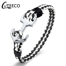 CUTEECO Anchor Leather Bracelet Rope Bracelet For Men Gift High Quality Men's Titanium Steel Bracelet Black Personality Leather все цены