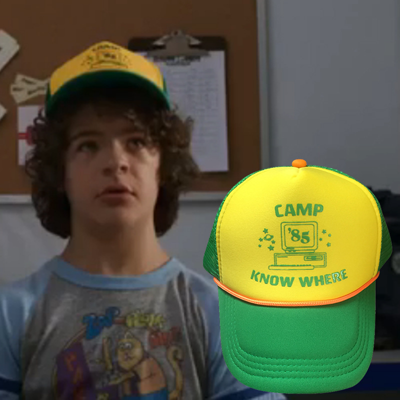 Hot Stranger Things 3 Dustin Mesh Hat Cosplay Visor   Cap   Green Funny Outdoor Camp Know Where