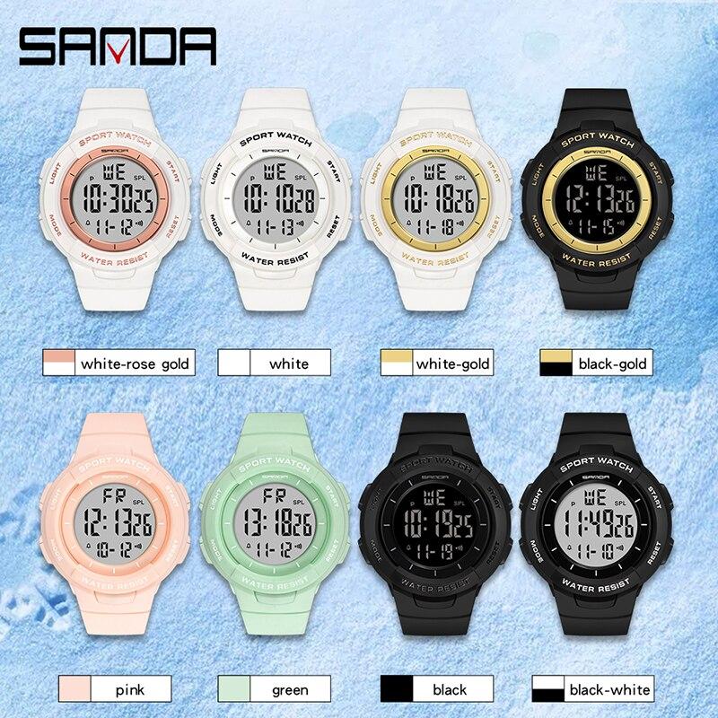 Montres électroniques pour femmes, Bracelet à la mode, chronomètre pour filles, de marque SANDA, horloge antichoc 6