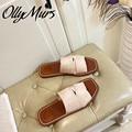 Ollymurs Новинка весны лета Элитный бренд шлёпанцы для женщин с буквенным принтом обувь на плоской подошве с принтом шлепанцы без задника с отк...