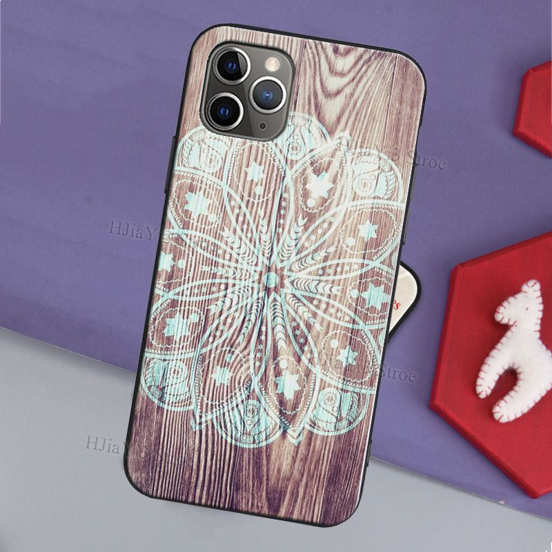 Mandala Floral Wooden Pattern Case For iPhone 12