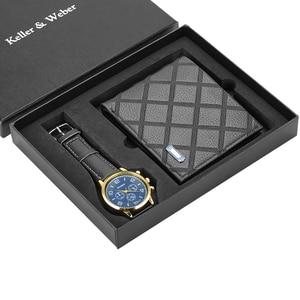 Image 3 - Men Watches Quartz Leather Minimalist Wrist Watch Card Holder Wallet Watch Men Gift Set for Dad Husband Boy Friend Reloj Hombre