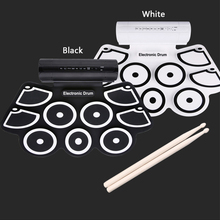 Portable Digital USB Electronic Drum with 9 Pads Roll up thicker Drum Set Silicone Electric Drum Sticks Foot Pedal Kit Drum Pad все цены