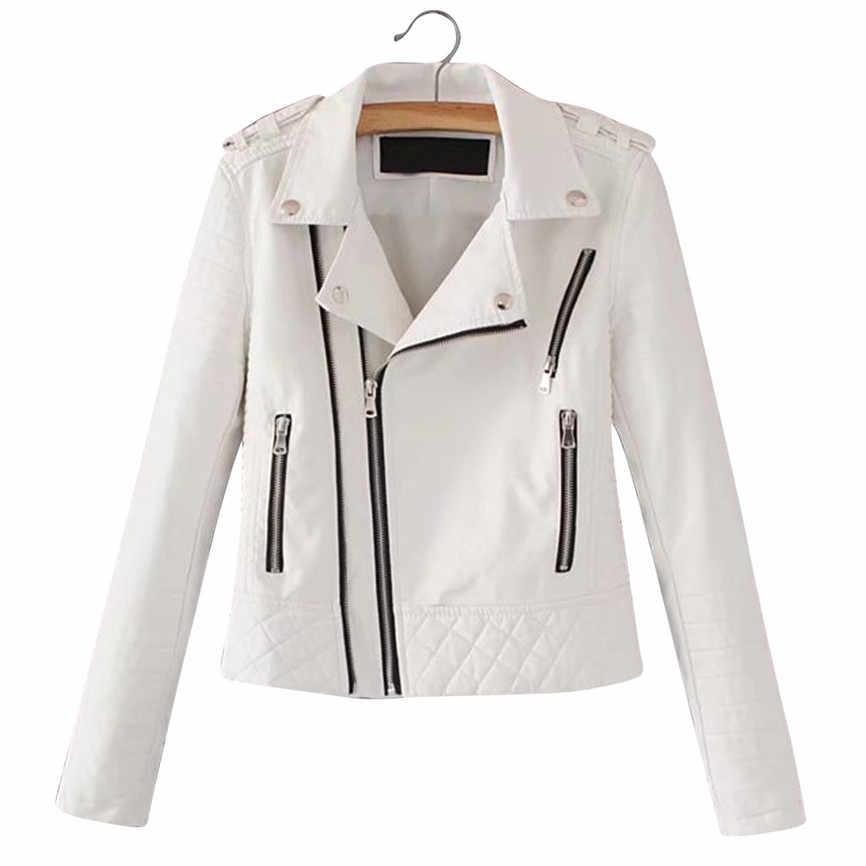 Wanita PU Kulit Jaket Hitam Musim Gugur 2019 Wanita Zipper Lengan Panjang Turn-Down Leher Faux Kulit Jaket Jas Wanita