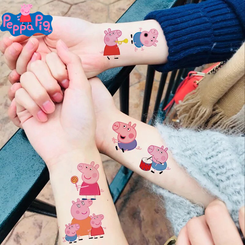 Peppa Pig Tattoo Stickers Kid's Cartoon Toys Set George Family And Friends Waterpoof Kids Children Toys Gifts