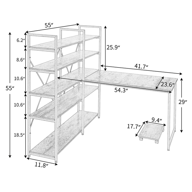 """Home Office 54"""" Large Computer Desk with 5-tier Shelves 6"""