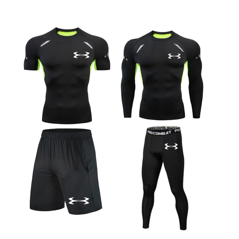 High Quality Men Sports Suit Compression Tshirt Tights Running Jogging Gym Fitness Training MMA Rashguard Men Sportswear Dry Fit
