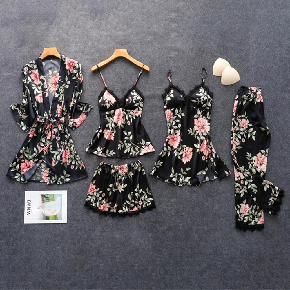 Women's Pajamas Silk Floral With Print 5 Pieces Pajama Set Пижама женская Pyjama Stitch Pijamas Sexy Lace Pajamas #TD04