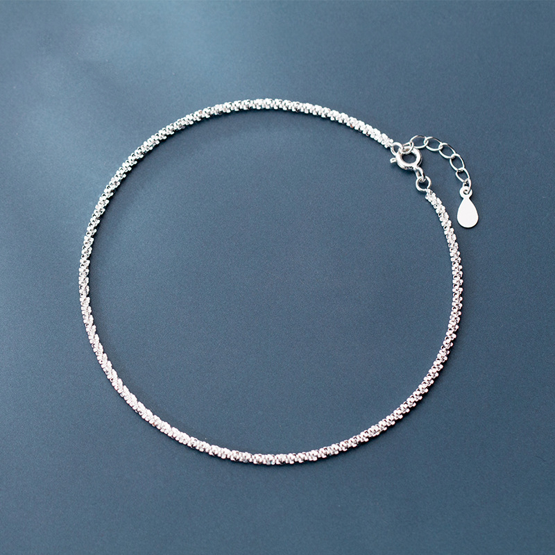 925 Solid Sterling Silver Elegant Fine Jewelry Gypsophila 24CM Chain Anklet For Women Summer Fashion Silver Jewelry Gift