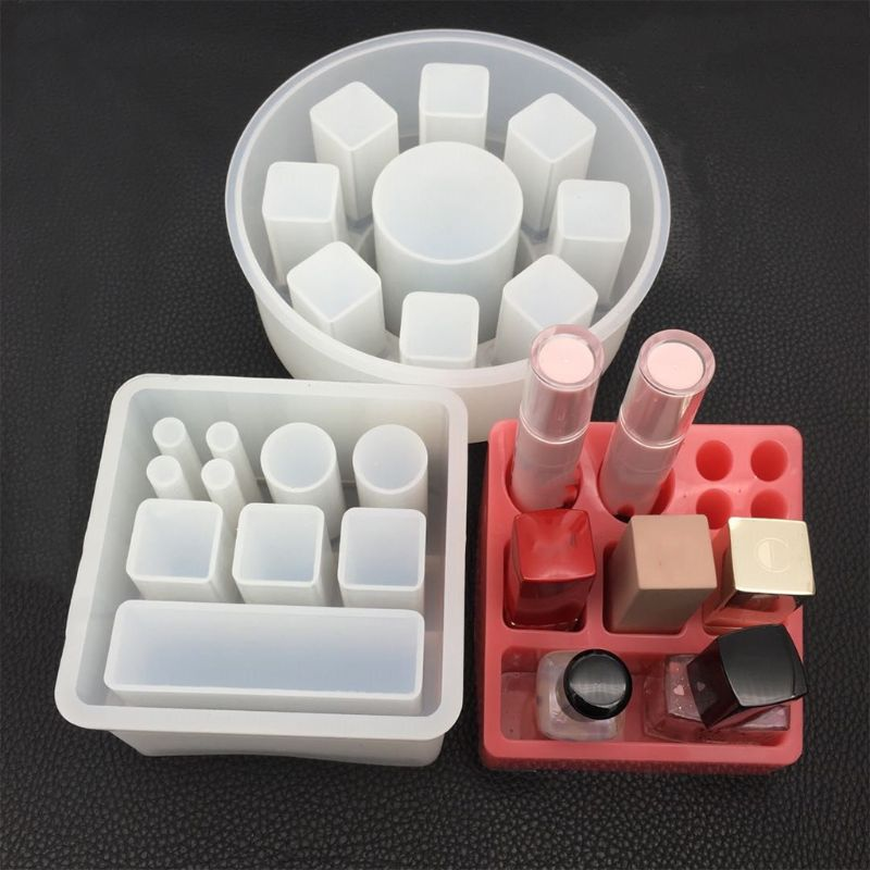 DIY Crystal Epoxy Resin Mold Silicone Rectangular Square Round Lipstick Storage Box Mold Hand Made Mirror Jewelry Making Tools