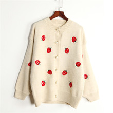 H suéter SA para mujer 2019 cárdigan Casual para damas Casual Wear Rosa jerseys estilo coreano mujeres Poncho fresa Oversize abrigo