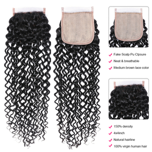Image 4 - UNICE HAIR Brazilian Curly Lace Closure Free Part Remy Human Hair Closure Swiss Lace 150% Density Natural Color 1 Piece