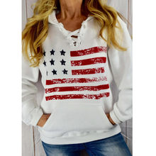 American Flag Print Hoodies Womens Autumn Long Sleeve Patchwork Sweatshirt Pullover Hoodies Sweatshirts Female White Hoody(China)