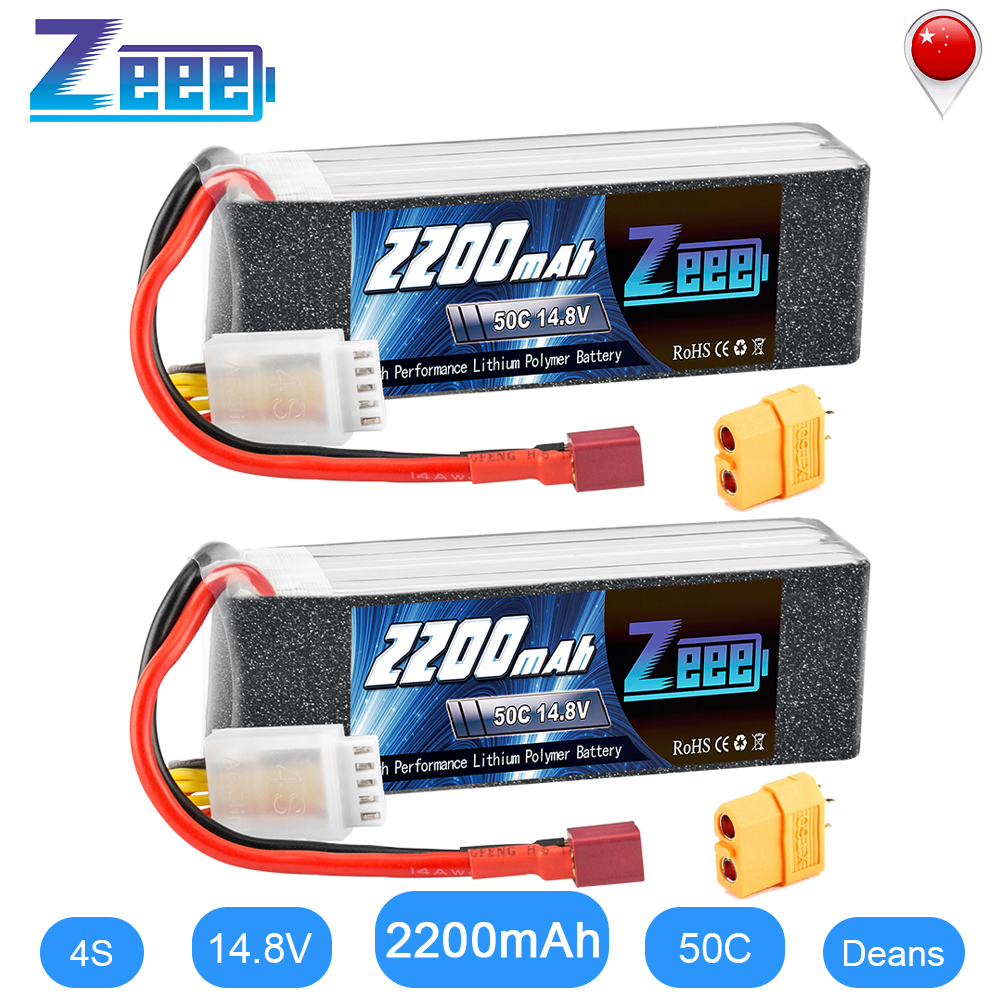 2units Zeee 4S RC LiPo Battery 14.8V 2200mAh 50C With Deans Plug XT60 Connector For RC Car Helicopter Drone Boat Airpplane