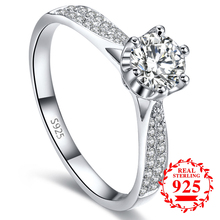 1.5 CARAT NOT FAKE S925 Sterling Silver Ring SONA Diamond Classic 6 claws Best Romance Fine Ring Wedding Engagement simple 925 colorfish vintage 1 carat princess cut women ring set 925 solid sterling silver sparkling sona halo engagement wedding ring set