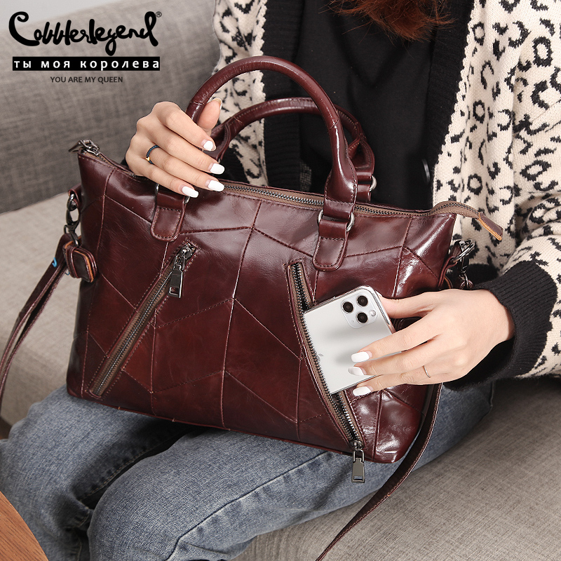 Cobbler Legend Vintage Double Zip Genuine Leather Luxury Handbags Women Bags Designer Female Shoulder Messenger Bag Ladies Tote