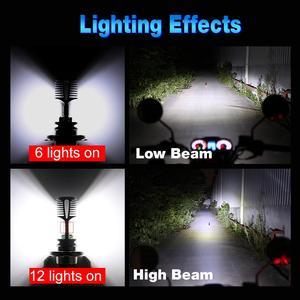 Image 3 - 1pcs H4 P15D Motorcycle Headlight Bulb 1200LM Hi/Low Beam 12SMD 3030 Chips Motorbike Fog Lamp 12V 24V Moto Lights Accessories