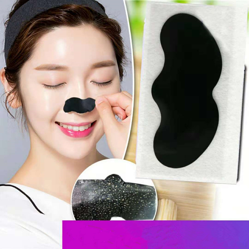 10PCS Bamboo Charcoal Blackhead Remover Deep Nose Pore Cleasing Strip Nose Sticker Pig Nose Mask Charcoal Pore Strip Deep Clean 2