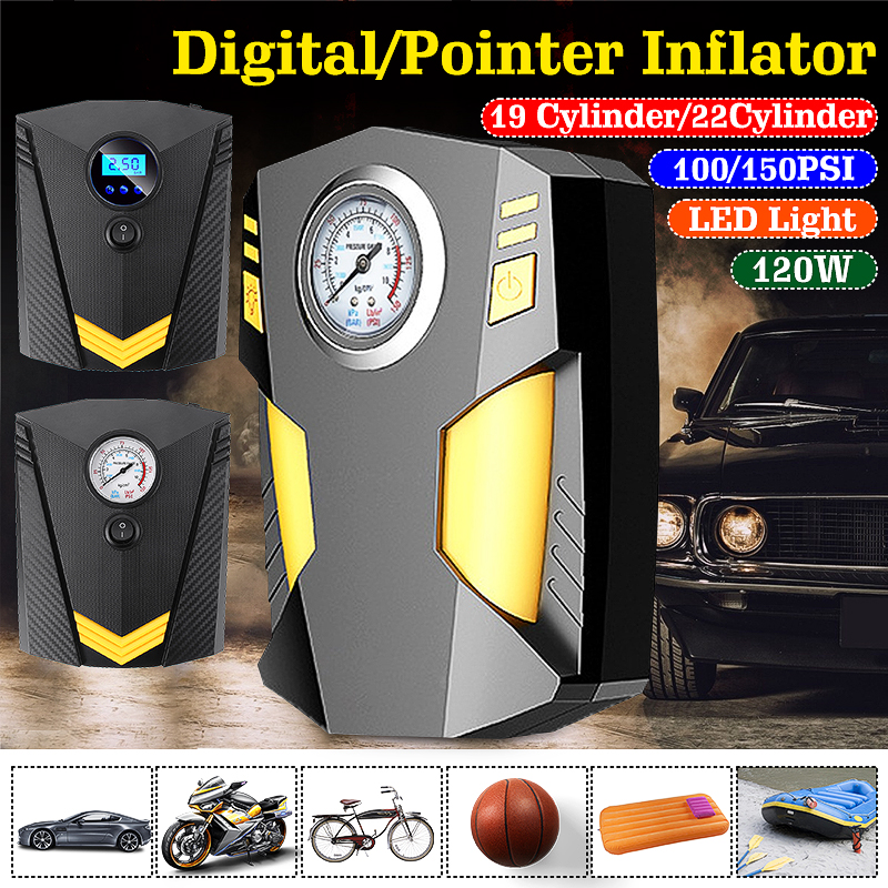 150W 100PSI Car Tire Inflatable Pump With LED Illumination Auto Air Compressor For Car Wheel Tires Electric DC 12V Tyre Inflator