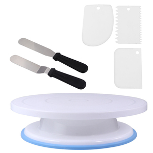 6Pcs Rotating Cake Stand Revolving Cake Stand Cake Spinner Cake Scrapers For Bakery Decorating Tools For Kitchen Cake Baking