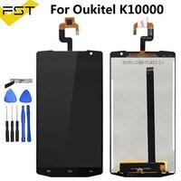 Preto para oukitel k10000 display lcd + tela de toque 100% testado lcd digitador vidro substituição para oukitel k10000