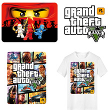 Grand Theft Auto Patch Iron on Transfer Letter GTA Patches for Clothing DIY Appliques Washable Stickers Clothes Heat Press