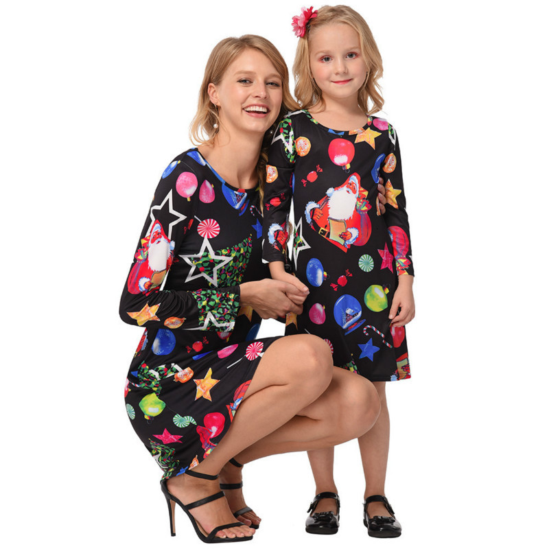 Family Christmas Dress Mother Daughter Long Sleeve Dresses Family Matching Clothes Woman Girls Party Dress 3-7 Years Kids Look