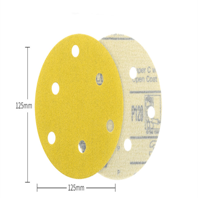 5-Inch 236U Disc Sander Yellow Self-Adhesive Polishing Car Sheet Metal Polishing Flocked Dry Grinding Circle Woven Nap Disc