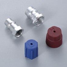 Kit de piezas de reequipamiento R12 R22 a R134a adaptadores rectos de conversión con tapas de puerto de servicio de núcleo de válvula, ajuste de válvula para cualquier coche
