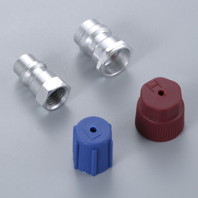 R12 R22 to R134a Retrofit Parts Kit Conversion Straight Adapters w/ Valve Core Service Port Caps Valve Fitting FIT ANY CAR