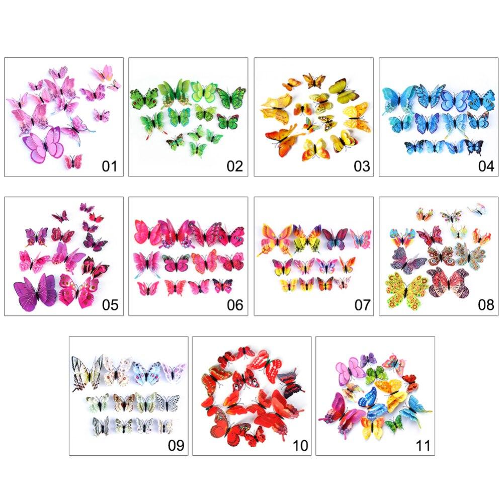 12 pçs 3d multicolorido adesivo dupla camada asas borboleta adesivo de parede magnético ímã festa crianças quarto geladeira decoração - 3