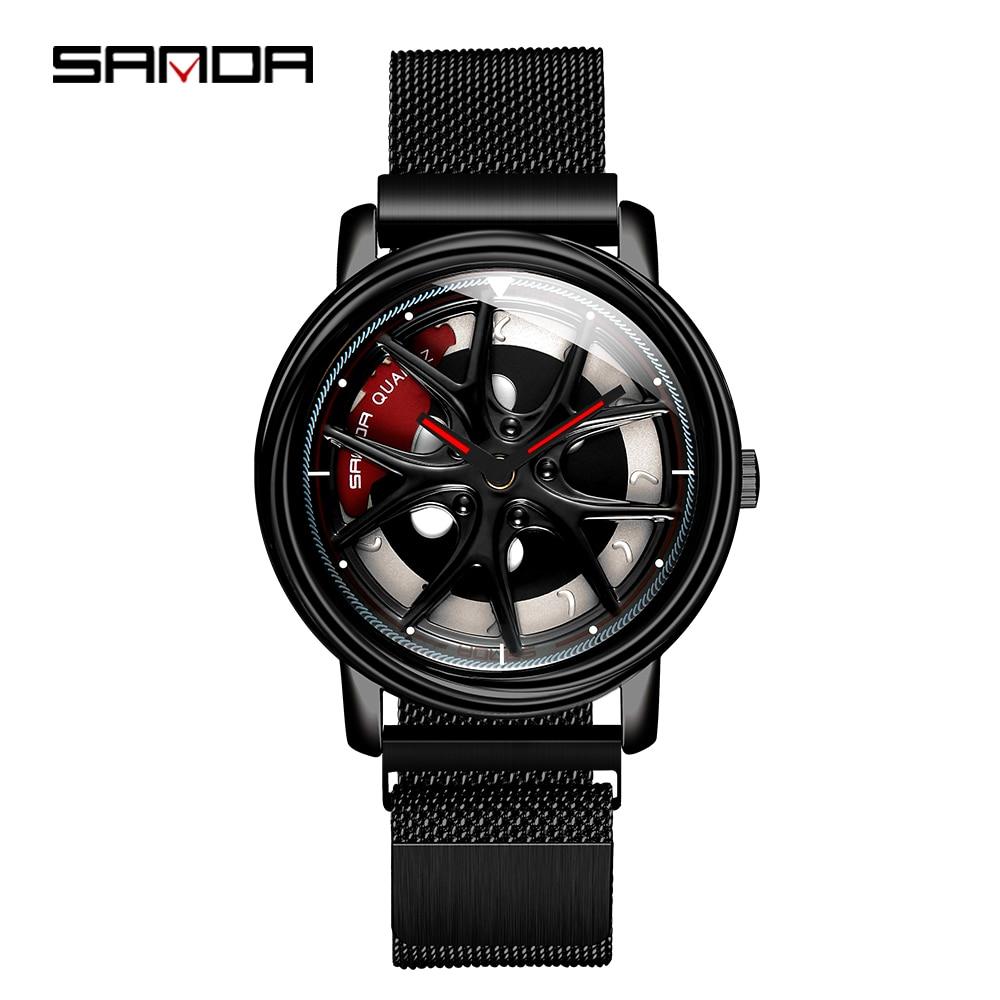 Sanda 2020 venda quente relógio masculino à prova dwaterproof água rotativa dial roda relógios ímã fecho de quartzo relógio pulso presentes relogio masculino 1025Relógios de quartzo   -