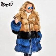 2020 moda Raposa Vermelha Casaco De Pele Real Para As Mulheres Genuine Fox Fur Jacket Com Gola de Pele Natural a Longo Inverno Mulher casacos de peles De Luxo