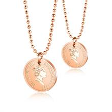 Rose Gold Color Queen Coin Pendant Necklace For Women  Stainless Steel Bead Chain Jewelry Gift Dropshipping