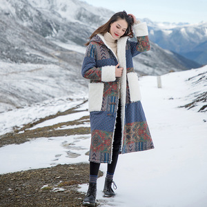 Image 2 - Johnature 女性パッチワーク韓国スタイルパーカー 2019 冬の新付き印刷花暖かい女性パーカー