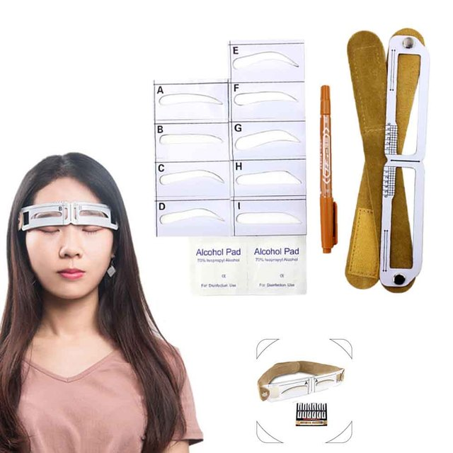 Home Salon Template Card Grooming Gift For Beginners Makeup Tool Measuring Semi Permanent Eyebrow Stencil Set Magnetic Ruler 5