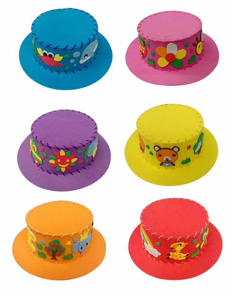 3D Eva Puzzle Hat Cap Diy Handmade Threading Early Learning Education Toys For Children Teaching Kindergarten Craft Choose Color