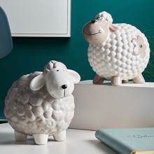 Model Bedroom Decoration Accessories Desktop Decoration Children's Piggy Bank Holiday Cute Sheep Piggy Bank Resin Animal Gifts