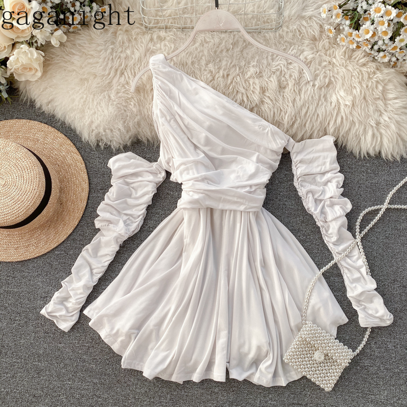Gaganight Banquet Party Women Dress Solid Long Sleeve Asymmetrical Collar Off Shoulder Fashion Dresses Office Lady Ruched Robe