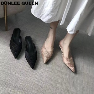 Обувь на низком каблуке; женская обувь на каблуке-рюмочке; плиссированные шлепанцы с острым носком; мелкая винтажная Свадебная обувь; уличн...