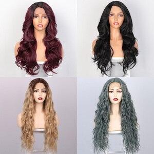 Image 4 - Длинные волнистые синтетические кружевные передние парики Is a wig, фиолетовый кружевной парик для черных/белых женщин, черный, розовый, коричневый цвет