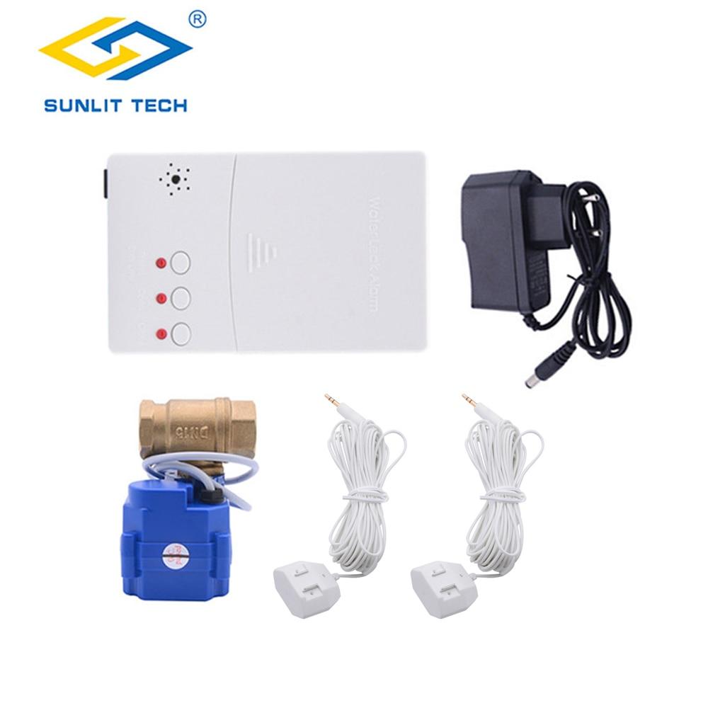 Датчик утечки воды для умного дома, комплект сигнализации с клапаном DN15 DN20 DN25, с детектором протечки воды и перелива от протекания