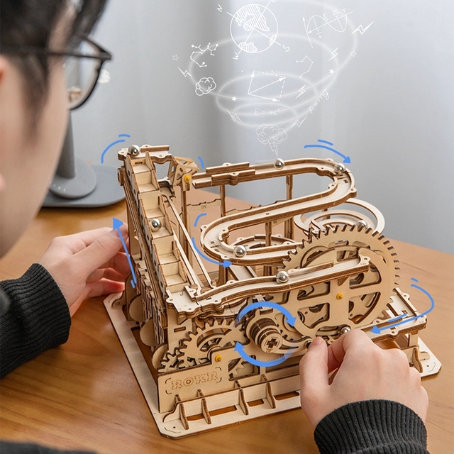Robotime Rokr 4 Kinds Marble Run DIY Waterwheel Wooden Model Building Block Kits Assembly Toy Gift for Children Adult Dropship 6
